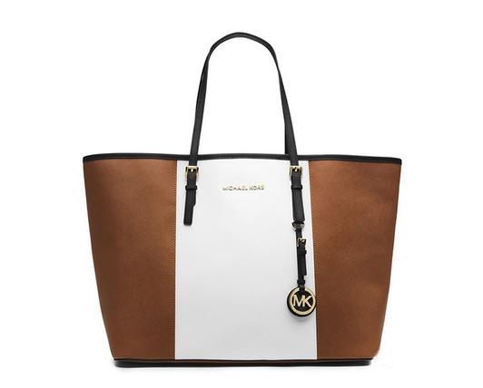 Michael Kors 迈克·科尔斯MK女士棕白色拼接牛皮单肩包¥1380