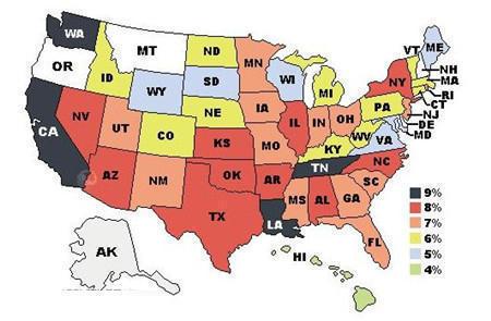 美国各州消费税的说明和具体征税率