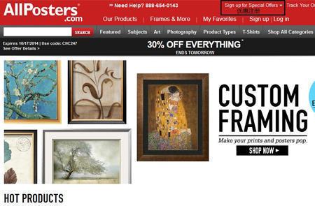 美国在线绘画艺术品网站AllPosters官网海淘攻略教程
