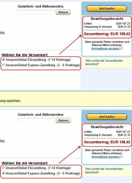 德国Amazon选择直邮或转运价格对比