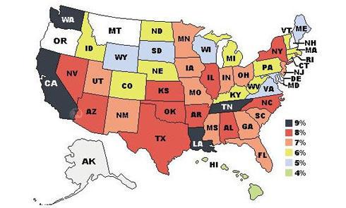 美国各洲消费税 附发往加州无消费税的购物网站大全