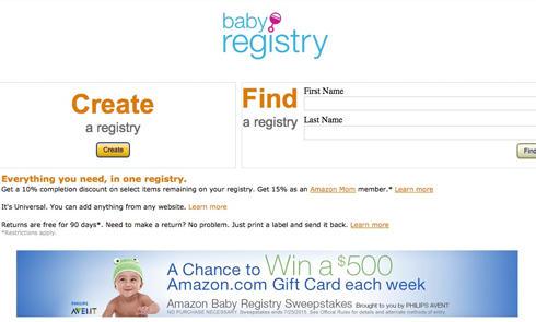 Amazon妈咪宝贝:最多享受15%额外购物优惠!免费注册Baby Regist