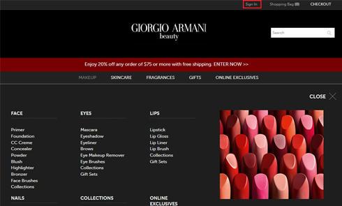 美国彩妆网站乔治阿玛尼Giorgio Armani官网海淘攻略教程