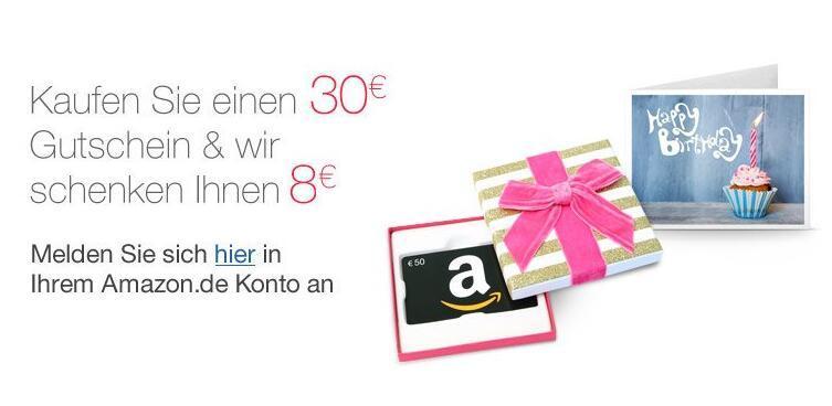 2016德国亚马逊用户礼品卡 30欧元送8欧元