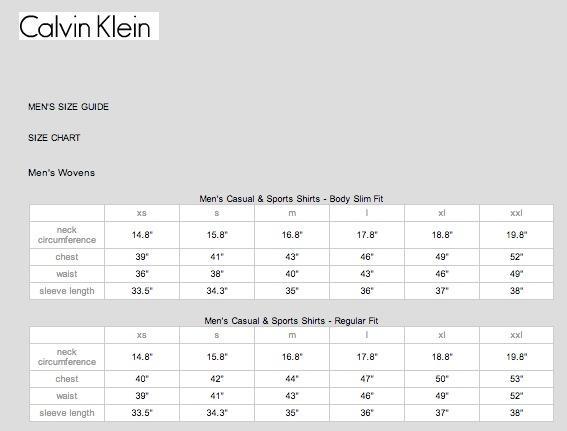 Calvin Klein尺码对照表 中美服装尺码换算表