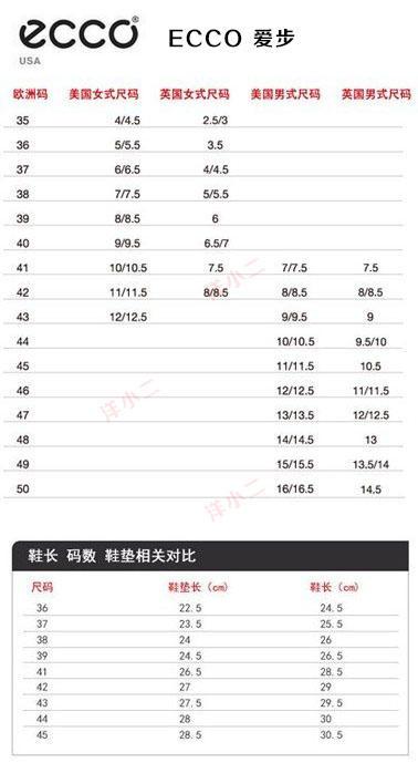 海淘各大品牌鞋码表 包含尺码对照表,鞋码表,尺码表,尺码换算,鞋子