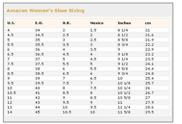 美国鞋码_美国各大品牌尺寸对照表(美国服装尺码及鞋码)