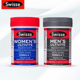 【新西兰PD折扣药房】Swisse 男士+女士复合维生素片套装 60片x 2   46 6纽 约¥224(套装包邮)