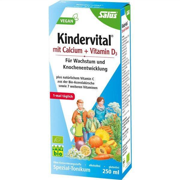 【满68欧免邮+特价+税补 】Salus® Kindervital® Calcium und VitaminD3 儿童钙+维生素D3有机果蔬营养液(3岁以上适用) 250ml