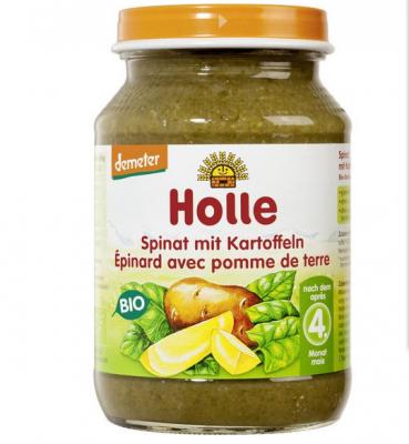 【德国UKA】  Holle 泓乐 有机菠菜土豆混合菜泥罐头 190g (4个月以上)  特价:0 96欧,约7元
