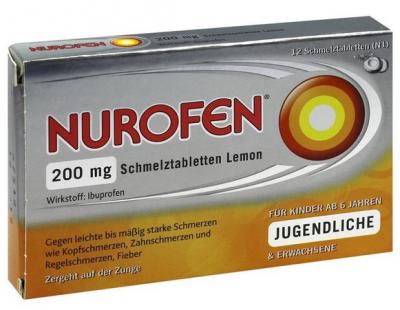 【德国UKA】 Nurofen 布洛芬 200mg止痛片柠檬味 6+ 12粒  特价:4 66欧,约34 7元