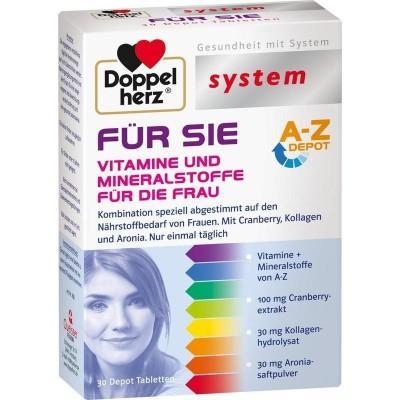 【德国UKA】 DOPPELHERZ 双心 26种女性活力精华缓释片 备孕 30粒  特价:8 51欧(原价:9 95欧),约63 3