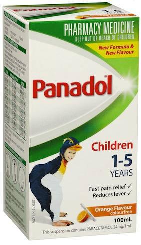 【限时特价】Panadol 扑热息痛 1-5岁儿童退烧 止痛 无色素 橙味 100ml【全场满60减6 满86减12】