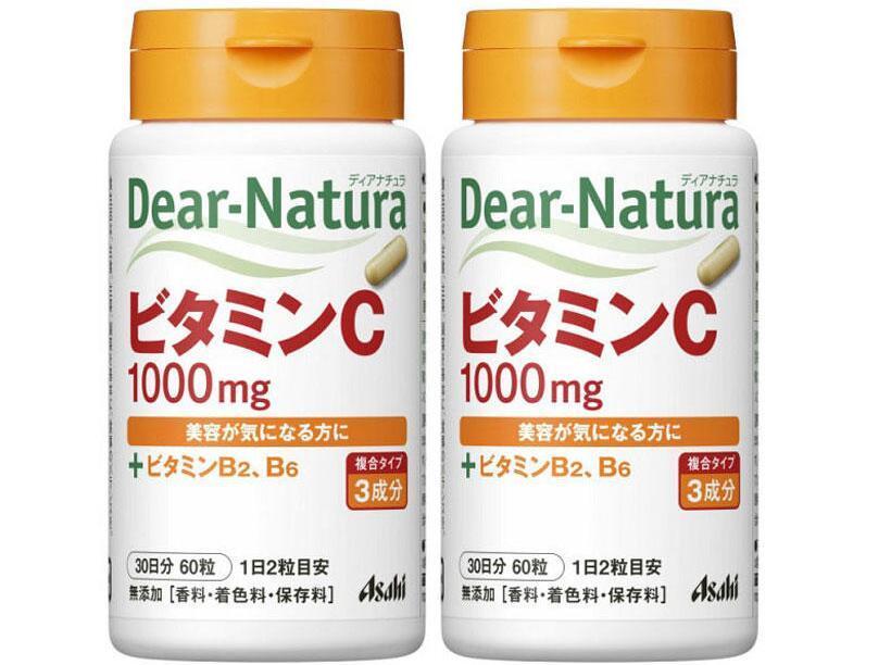 海豚村【2件包邮装】Asahi 朝日 Dear Natura天然维生素C VC 2x60粒(美白)  海淘包邮价:85元