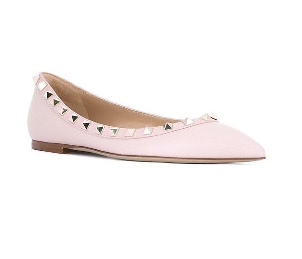 【6折】Valentino 铆钉尖头平底鞋 少女粉 $465(约3352元)
