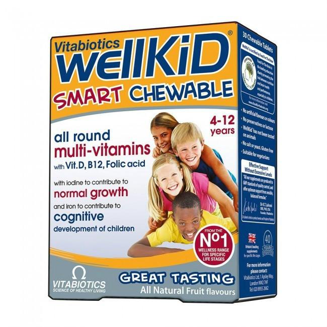 【邮费特惠+8折特惠】Vitabiotics WellKid 儿童维生素鱼油咀嚼片 (4-12岁) 30片