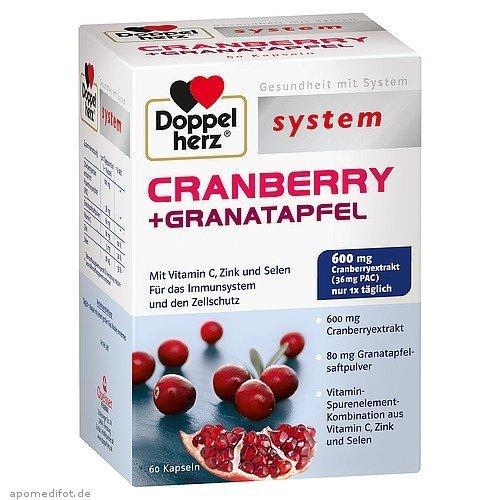 运费3欧封顶+下单即送巧克力+特价 Doppelherz 双心系列蔓越莓+石榴精华胶囊 60粒