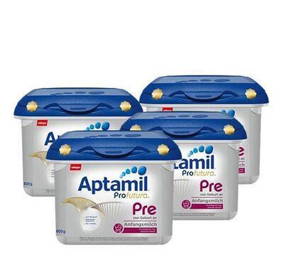【用码包邮】 Milupa Aptamil 爱他美白金版婴儿配方奶粉 Pre段(0-3个月)800g 4盒装
