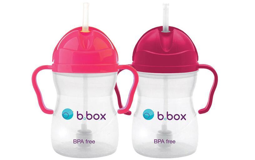【2件包邮装】B box 婴幼儿重力球吸管杯 2x240ml 个(粉红色+玫红色) 海淘包邮价:129元