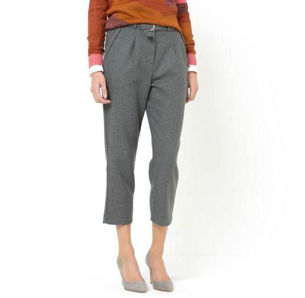 单品: SOFT GREY 羊毛混纺七分裤