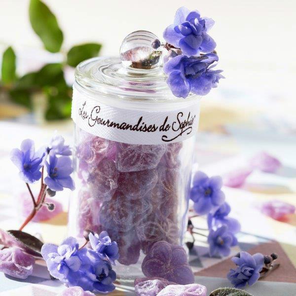 满50欧邮费6折 Les Gourmandises de Sophie 罐装紫色花朵糖果 80g罐