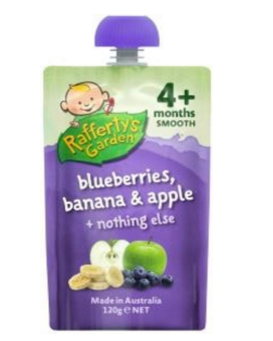 Rafferty& 039s Garden 拉芙迪 蓝莓香蕉苹果果泥 4个月+ 120克【全场满89澳免邮3kg】