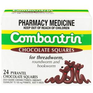 【全场免邮+专享满减】Combantrin 驱虫打虫杀蛔虫巧克力块 24块