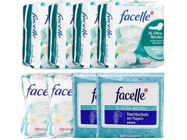 【包邮装】Facelle 菲思乐 日用+夜用卫生巾套装(日用普通 4包+日用超长 2包+夜用超长2包)