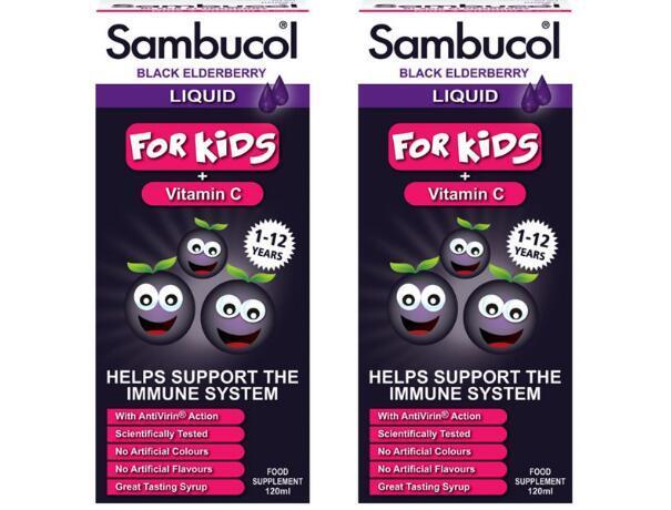 【2件包邮装】Sambucol 黑接骨木糖浆 2x120ml(1-12岁的儿童)抗病毒 增强免疫力 包邮券后价:178元