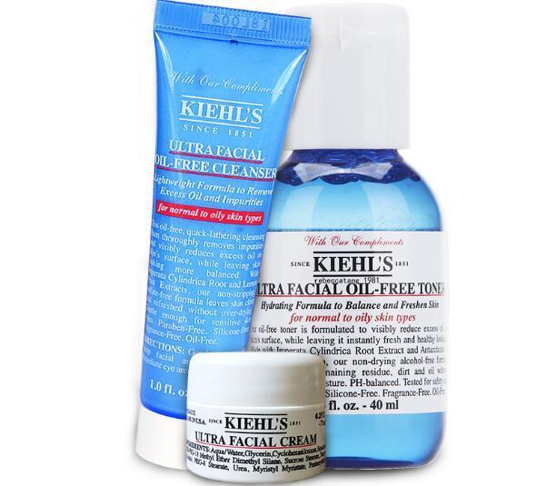 【包邮装】Kiehl& 039s 科颜氏 高保湿面霜 7ml+无油洁面乳 30ml+无油保湿水 40ml