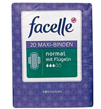 运费首重8欧,续重2 5欧 kg+免税+特价 Facelle 3滴水 带护翼日用卫生巾 20片