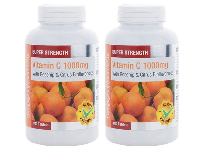 【2件包邮装】Simply Supplements 1000mg 玫瑰果维生素C片 2x180片 瓶  海淘包邮价:129元