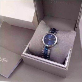 CALVIN KLEIN 女士蓝白撞色时装腕表 K5T33T4N 码后特价$78,转运到手约¥620