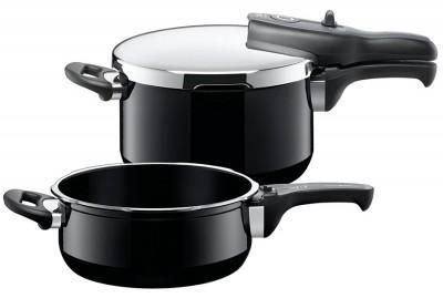 【德国EM】Silit喜力特 希拉钢压力锅3件套 Sicomatic® t-plus系列 黑色 4 5L+3L