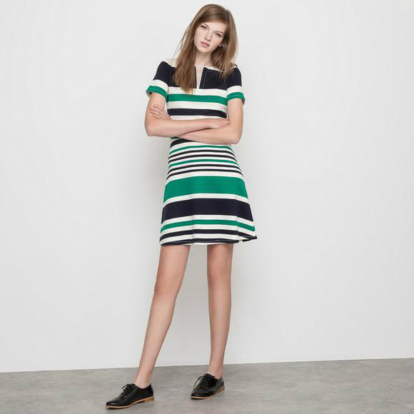 【法国LR】爆款秒杀包邮:Mademoiselle R条纹POLO衫型连衣裙限时包邮好价!
