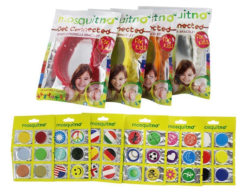 儿童节【包邮装】Mosquitno 儿童防蚊手环 4个 + 动物图案防蚊贴片 6x6贴 套