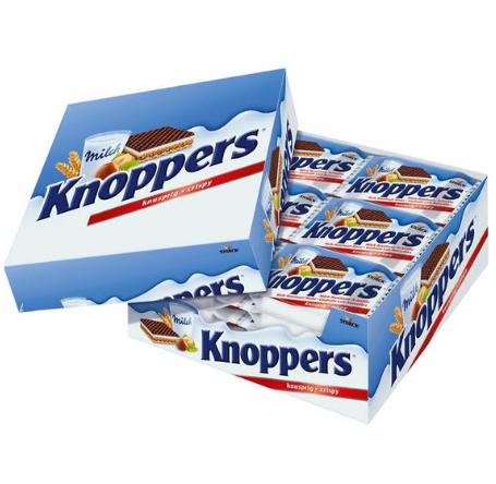 【德国BA】knoppers 牛奶榛子巧克力威化饼干家庭装 24包