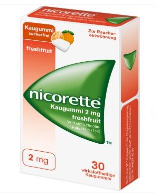 【德国DC】Nicorette 力克雷 尼古丁戒烟口香糖 清凉水果味 30片
