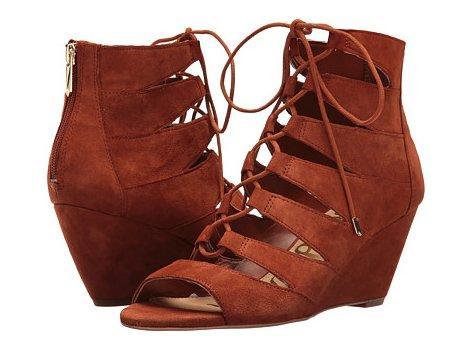 Sam Edelman Santina 女士真皮坡跟凉鞋 砖红色 2 5折特价$37 99,转运到手约378元