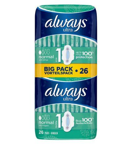 【德国BA】Always Ultra系列 4滴水超薄柔棉护翼日用型卫生巾 26片(100%防侧漏/无荧光剂) 满78欧免邮