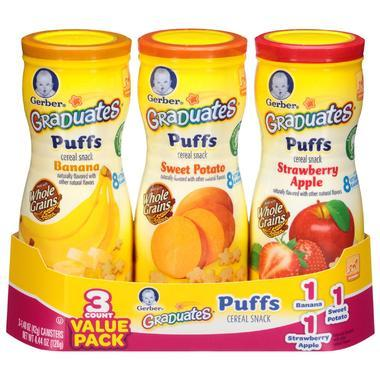 Gerber 嘉宝 星星泡芙组合装 苹果草莓味 甘薯味 香蕉味 1 48盎司