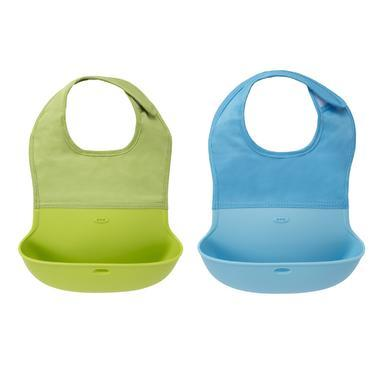 OXO Tot 奥秀 宝宝可折叠式围嘴食饭兜 2只装 浅绿色 蓝色