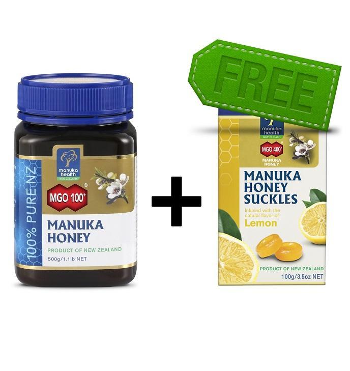 【新西兰PD】Manuka Health 蜜纽康 MGO100+蜂蜜 赠 柠檬蜂蜜润喉糖 包邮价NZ$49 50 约¥245