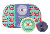 Cute Or What 猫咪图案化妆包(内含唇膏 身体乳各一个)1个