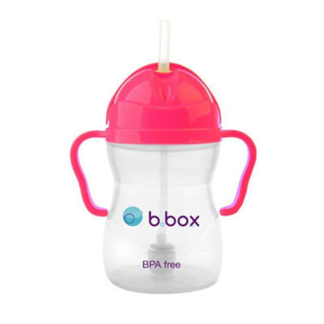 B box 婴幼儿重力球吸管杯 防漏 240ml 粉红色 (6个月以上)