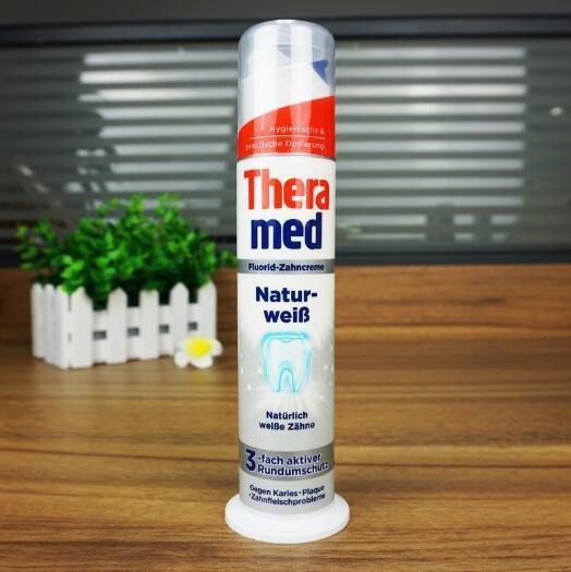 德国Theramed 汉高泰瑞美 自然美白站立式牙膏 强效去除牙石100ml×4支 四色组合装秒杀价 €7 8 约61元