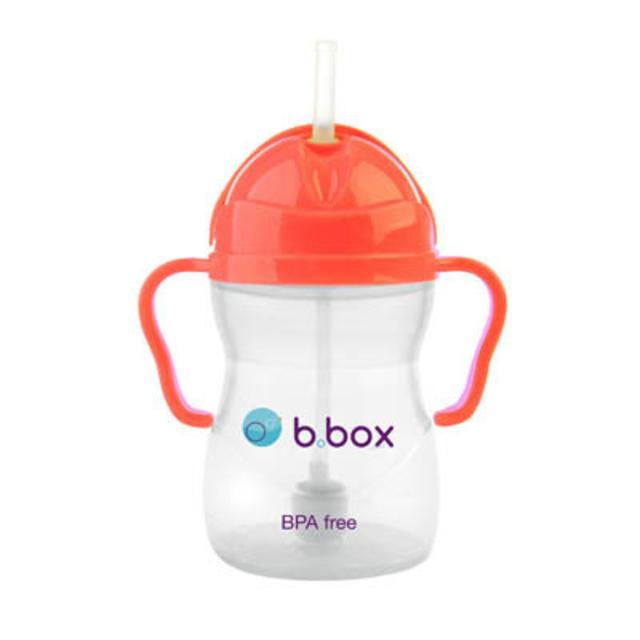 B box 婴幼儿重力球吸管杯 防漏 240ml 西瓜红 (6个月以上)