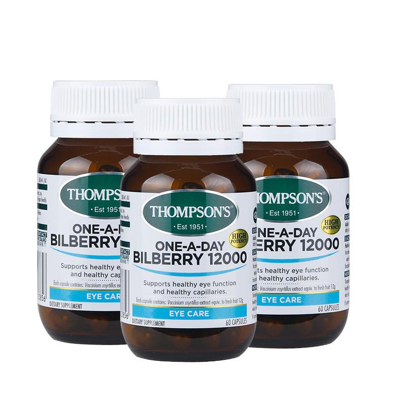 【新西兰KD】【3件包邮装】Thompson& 039s 汤普森 越橘蓝莓护眼胶囊12000mg 60粒 NZ$78 00 约¥380