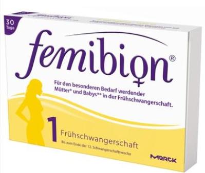 【德国DC】Femibion 孕妇叶酸+D3+B族维生素+碘口服片1号