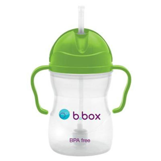B box 婴幼儿重力球吸管杯 防漏 240ml 苹果绿 (6个月以上)